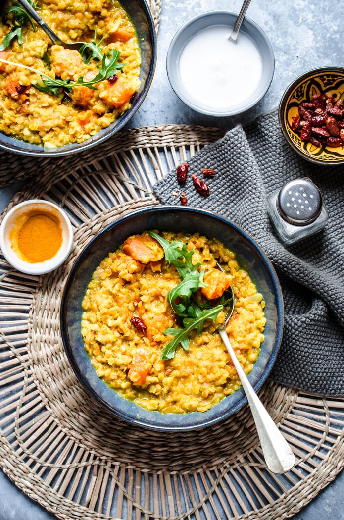 Zuppa di zucca e lenticchie rosse