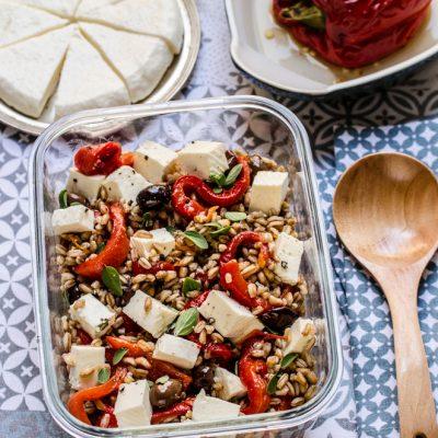 Lunch box: Insalata di Farro con peperoni arrostiti e primosale