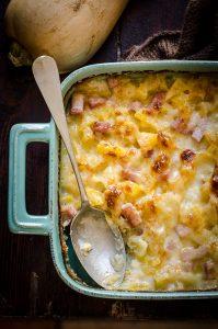 Pasticcio di patate, zucca e prosciutto cotto